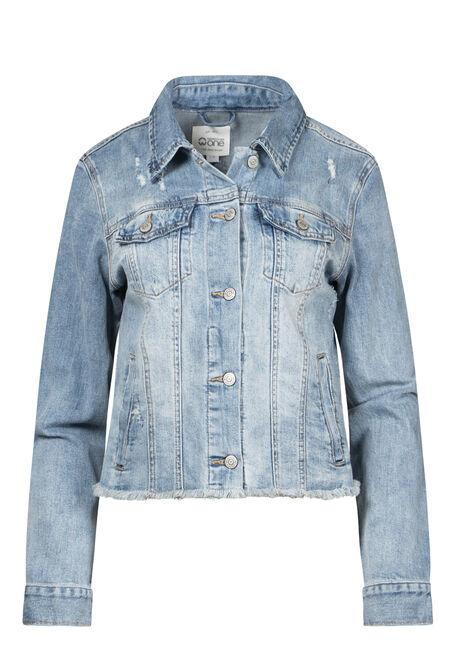 Women's Frayed Hem Crop Jean Jacket