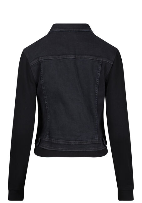 Women's Knit Sleeve Black Jean Jacket, BLACK, hi-res