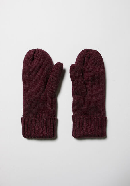 Women's Knit Mittens, BURGUNDY, hi-res