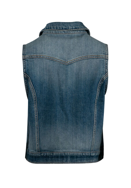 Women's Denim Vest, LIGHT WASH, hi-res