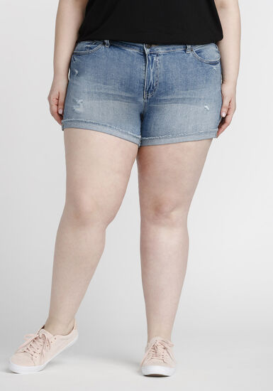 Women's Plus Size Destroyed Short, LIGHT WASH, hi-res