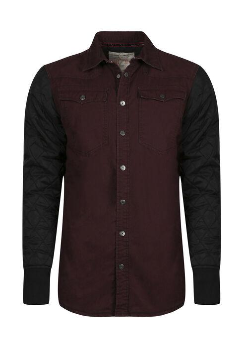 Men's Quilted Sleeve Shirt Jacket, DARK BURGUNDY, hi-res