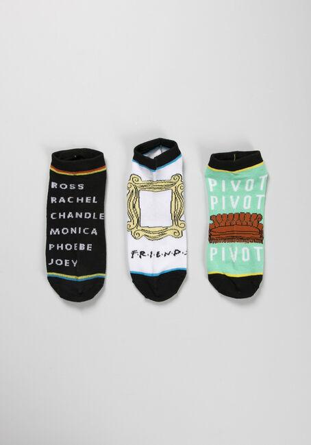 Women's Friends 3 Pack Ankle Socks, BLACK, hi-res