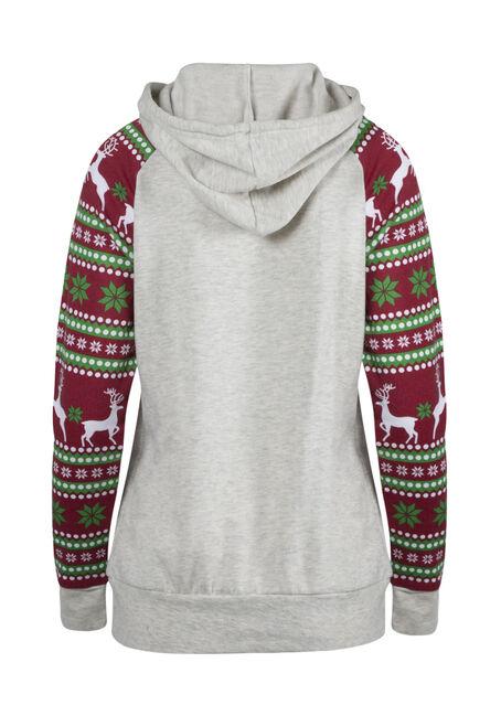 Ladies' Nordic Reindeer Hoodie, OATMEAL, hi-res