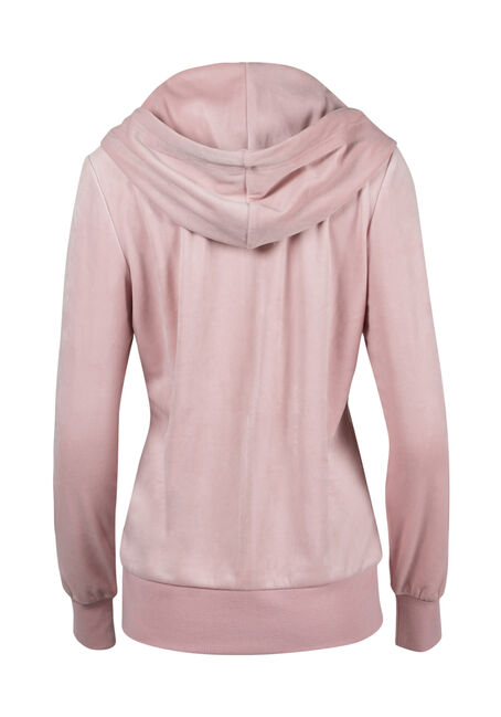 Ladies' Velour Zip Up Hoodie, TICKLED PINK, hi-res