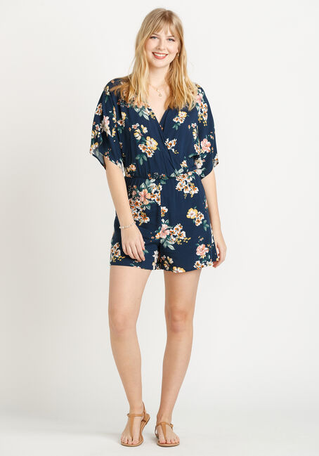 Women's Floral Romper, NAVY, hi-res