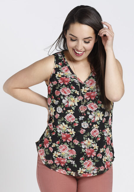 Ladies' Floral Mesh Tank, BLACK, hi-res