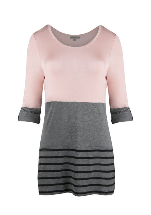 Ladies' Colour Block Stripe Top, PEACH, hi-res