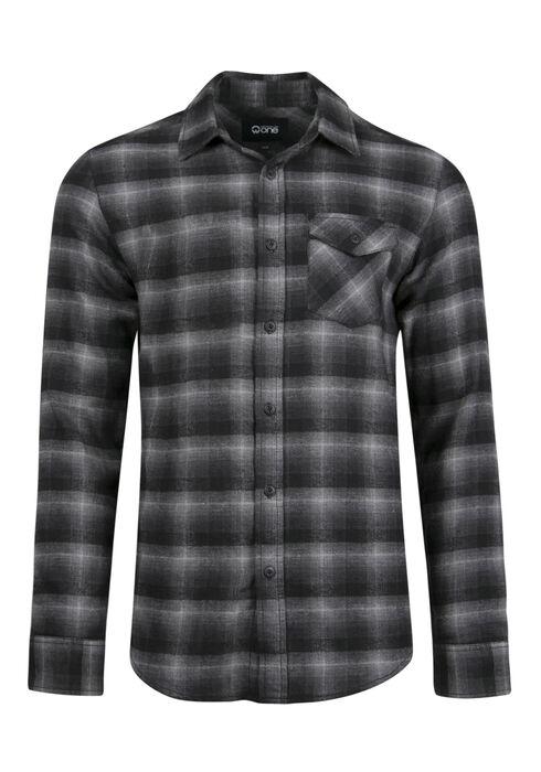 Men's Flannel Shirt, CHARCOAL, hi-res