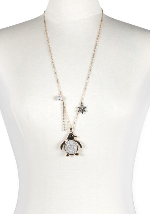 Ladies' Penguin Necklace, GOLD, hi-res