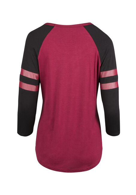 Ladies' Mesh Football Tee, TRUE RED/ BLK, hi-res