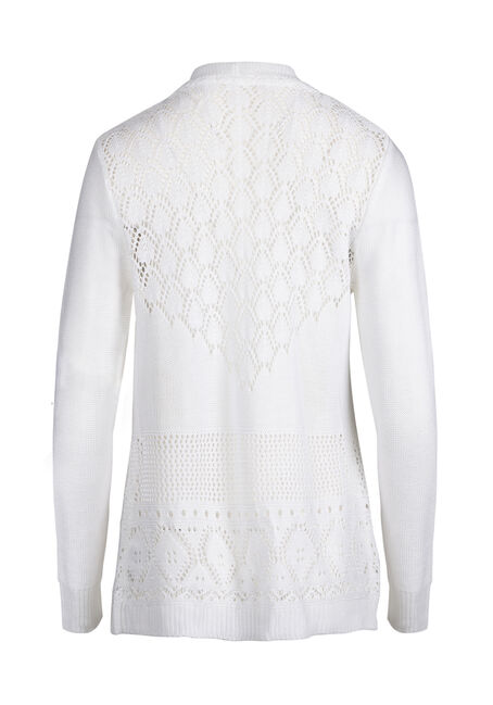 Ladies' Pointelle Trim Cardigan, IVORY, hi-res
