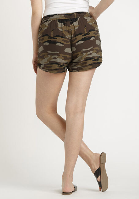 Women's Camo Soft Pull-on Short, DARK OLIVE, hi-res