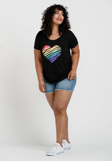 Women's Rainbow Heart Scoop Neck Tee, BLACK, hi-res