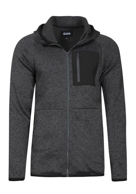 Men's Sweater Knit Zip Front Hoodie, ASH, hi-res