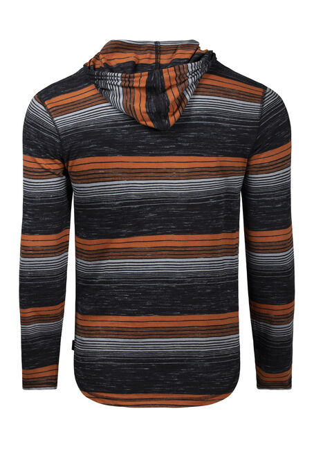 Men's Mini Stripe Hooded Tee, BLACK, hi-res