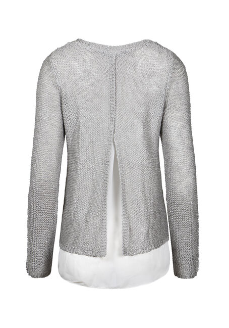 Women's Chiffon Back Shimmer Sweater, GREY, hi-res