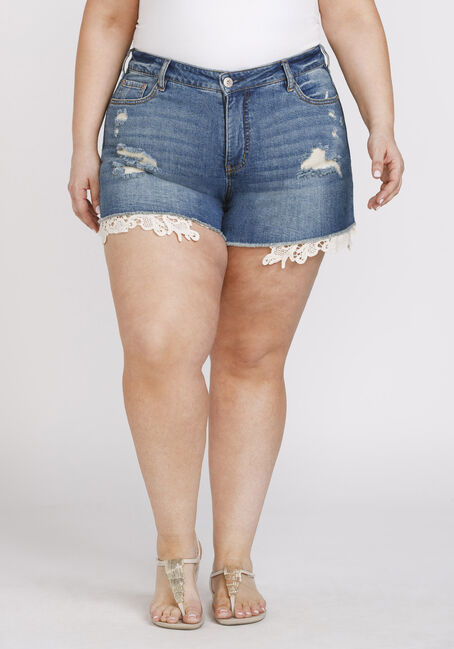 Women's Plus Size High Rise Crochet Hem Short