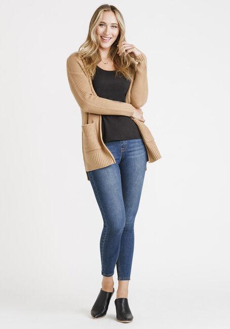 Women's Textured Stitch Cardigan, CAMEL, hi-res