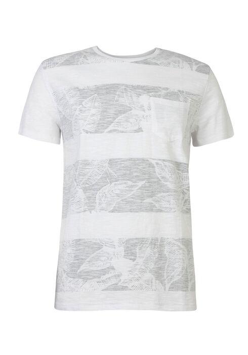 Men's Tropical Print Tee, WHITE, hi-res