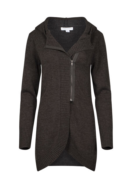 Women's Asymmetrical Zip Cardigan, CHARCOAL, hi-res