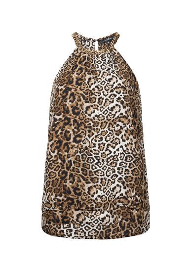 Women's Leopard Print Chain Halter Top, TAN, hi-res