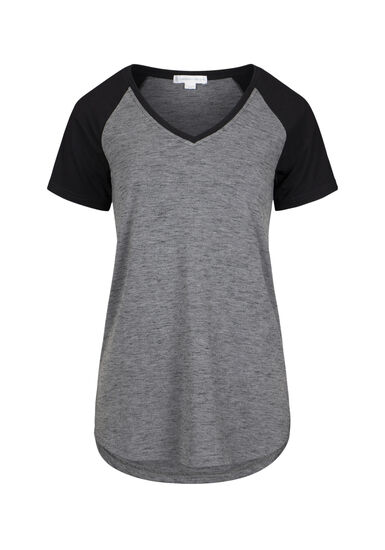 Women's V-Neck Space Dye Tee, BLACK, hi-res