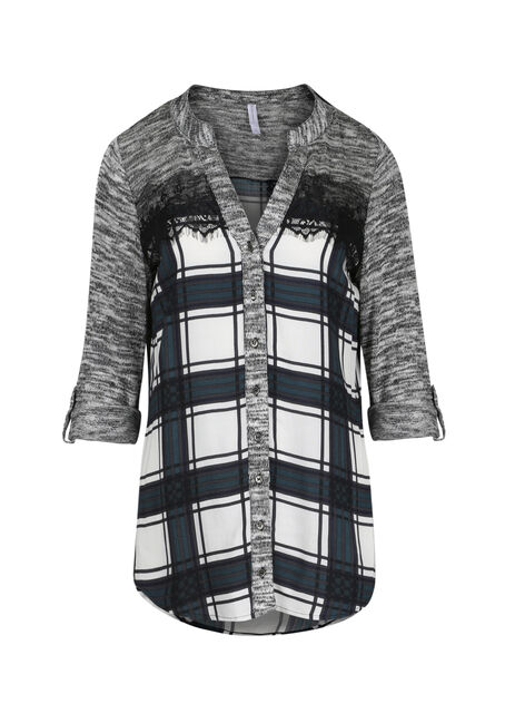 Ladies' Plaid Roll Sleeve Shirt