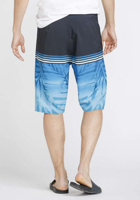 Men's Tropical Print Board Shorts, BLUE, hi-res