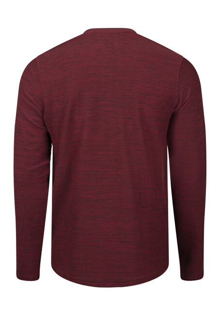 Men's Henley Rib Knit Sweater, PLUM WINE, hi-res