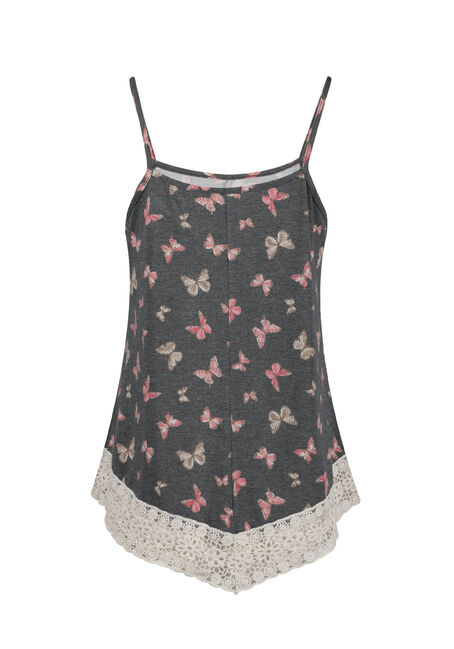 Ladies' Butterfly Crochet Trim Tank, BLACK, hi-res