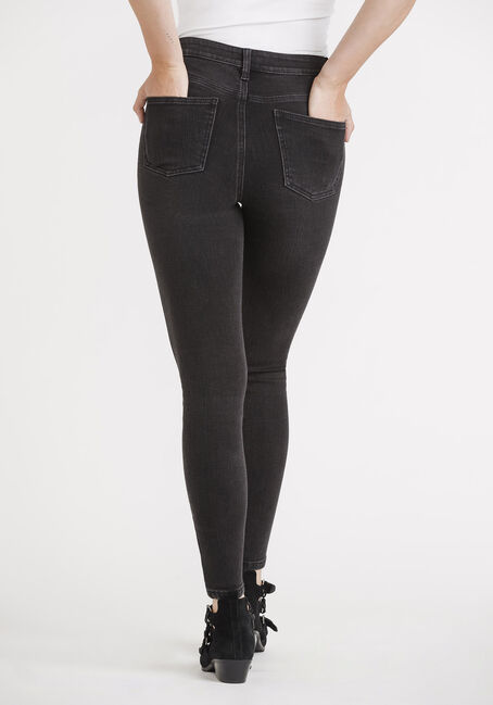 Women's Black High Rise Exposed Button Skinny Jeans, BLACK, hi-res