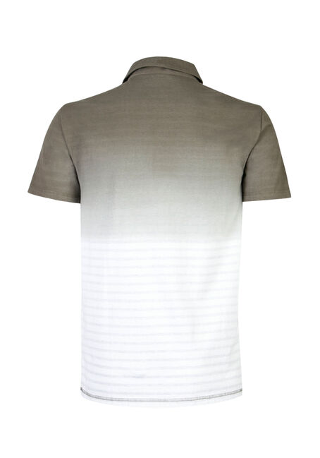 Men's Ombre Stripe Polo, DARK OLIVE, hi-res