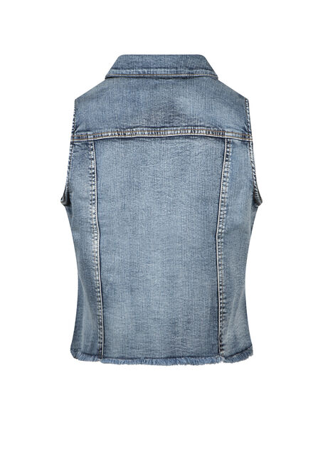 Women's Cropped Vintage Frayed Denim Vest, DENIM, hi-res