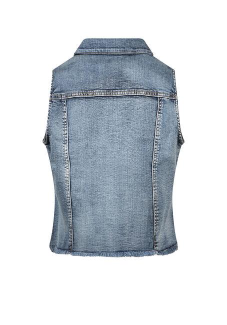 Women's Cropped Vintage Frayed Denim Vest, DENIM, hi-res