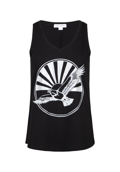 Women's Eagle V Neck Tank, BLACK, hi-res