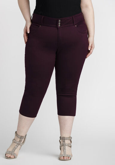 Women's Plus Size Coloured Skinny Capri, BURGUNDY, hi-res