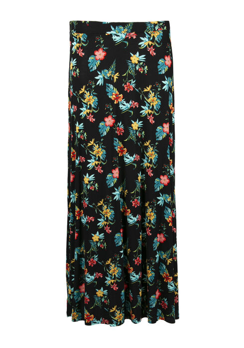 Women's Tropical Flower Maxi Skirt, BLACK, hi-res