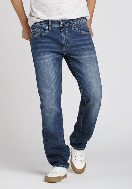 Men's Dark Indigo Wash Relaxed Straight Jeans