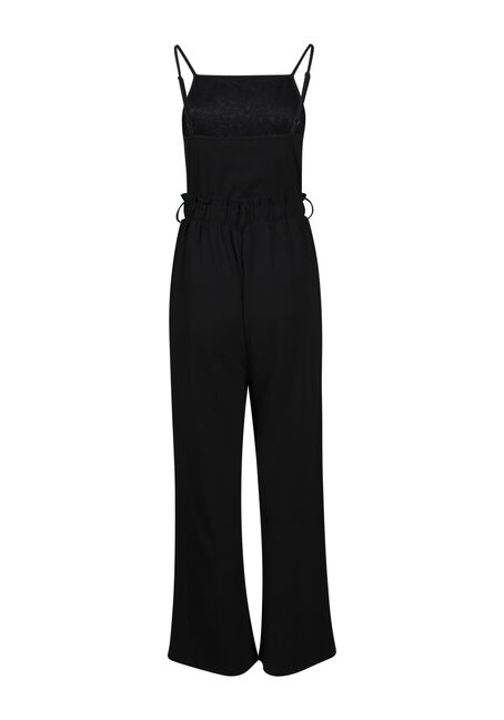 Women's Lace Top Jumpsuit, BLACK, hi-res
