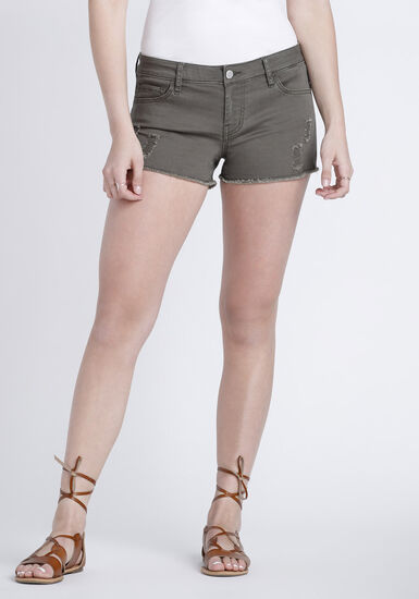 Women's Destroyed Coloured Short, DARK OLIVE, hi-res