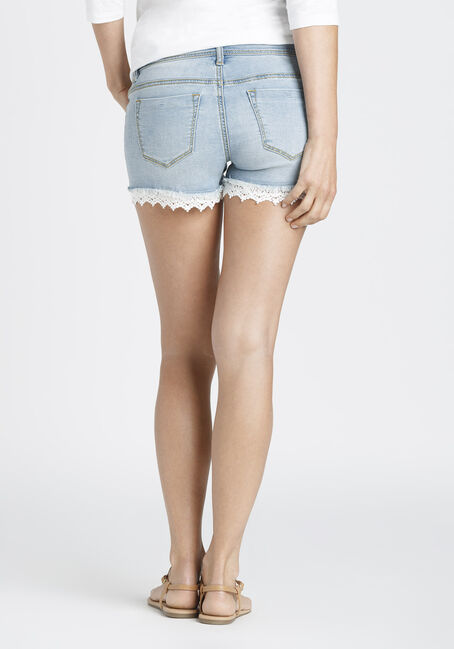 Ladies' Lace Trim Not-So-Short Short, LIGHT VINTAGE WASH, hi-res