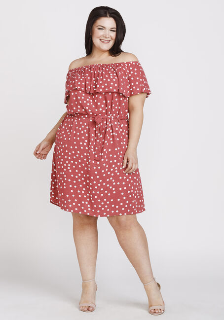 Women's Polka Dot Bardot Dress, SEDONA PRINT, hi-res
