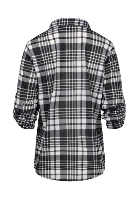 Women's Half Button Knit Plaid Shirt, BLK/WHT, hi-res