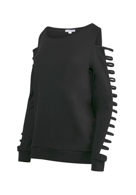 Women's Ladder Sleeve Fleece, BLACK, hi-res