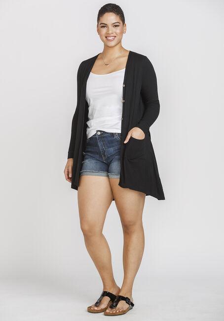 Women's Ribbed Cardigan, BLACK, hi-res