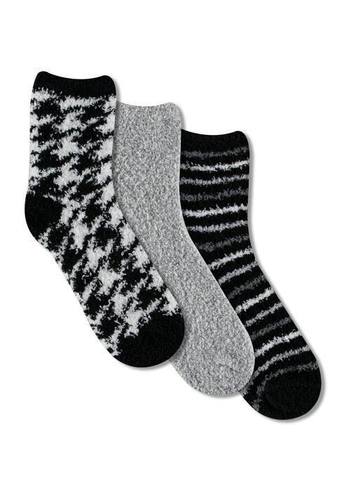 Ladies' 3 Pair Cozy Socks, BLK/WHT, hi-res