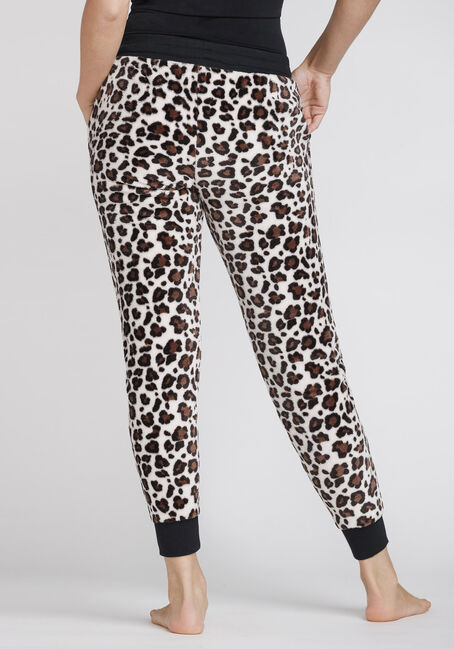 Women's Leopard Plush Jogger, LIGHT BROWN, hi-res