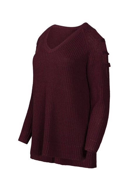 Women's Ladder Sleeve Sweater, BURGUNDY, hi-res