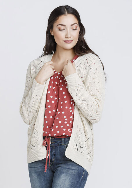 Women's Oversized Pointelle Cardigan, OATMEAL MARL, hi-res